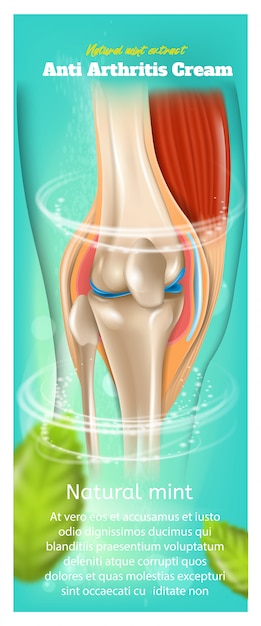 Banner ou acúmulo com ilustração sobre o extrato de hortelã natural de creme anti artrite Vetor Premium