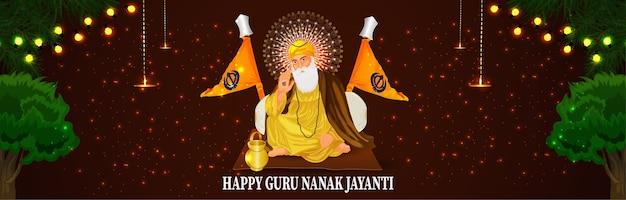 Banner ou cabeçalho de guru nanak jayanti feliz Vetor Premium