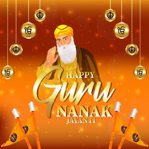 Banner ou cabeçalho feliz de guru nanak jayanti com fundo amarelo criativo Vetor Premium