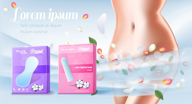 Banner para almofadas de algodão de apresentação e tampão Vetor Premium