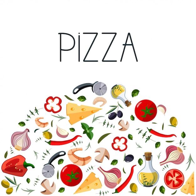 Banner para caixa de pizza. Vetor Premium