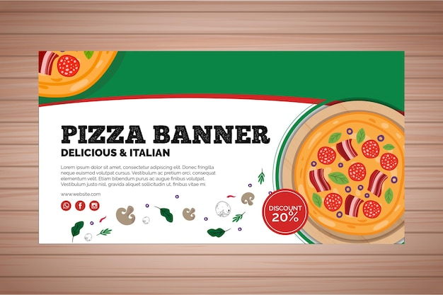 Banner para restaurante de pizza Vetor Premium