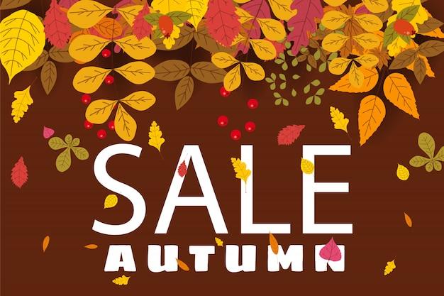 Banner para venda de outono, design com folhas caindo Vetor Premium