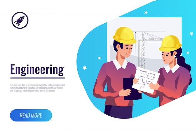 Banner plana de engenharia Vetor grátis