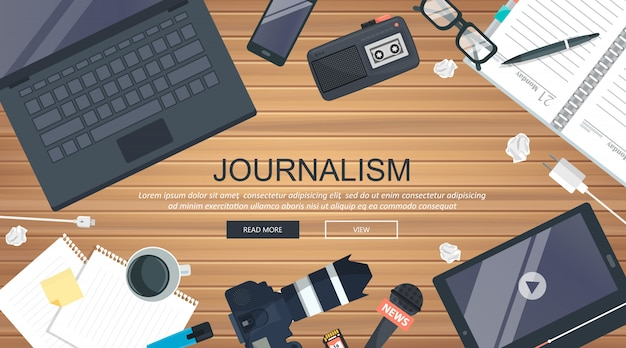 Banner plana de jornalismo Vetor Premium
