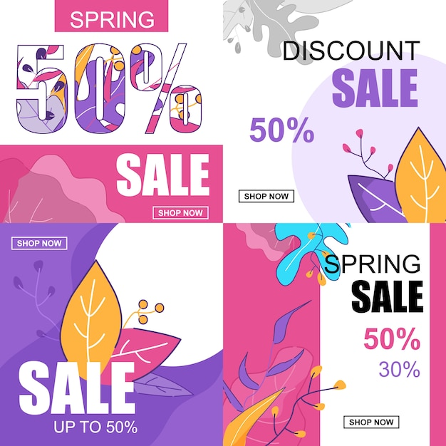 Banner plana definida venda de desconto de primavera 50 por cento. Vetor Premium