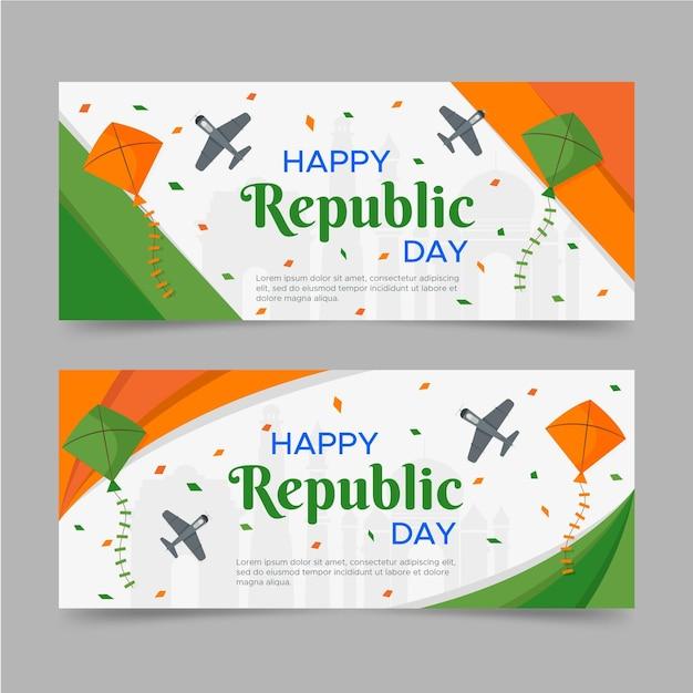 Banner plana feliz dia da república Vetor grátis
