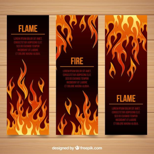 Banner plano de fogo design Vetor grátis