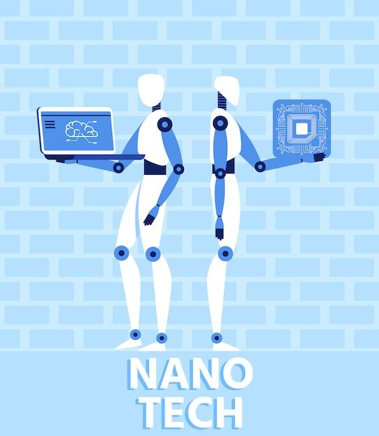 Banner plano de tecnologia nano e inteligência artificial Vetor Premium