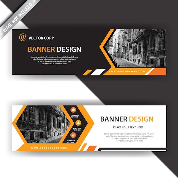 Banner preto e laranja Vetor grátis