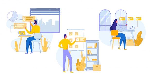 Banner profissional office work planning cartoon Vetor Premium