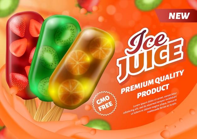Banner publicidade suco de gelo no picolé da vara Vetor Premium