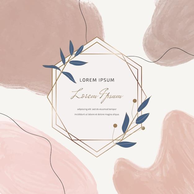 Banner quadrado com mão livre desenhando formas de traçado de pincel em aquarela e molduras de mármore geométricas com folhas. Vetor Premium