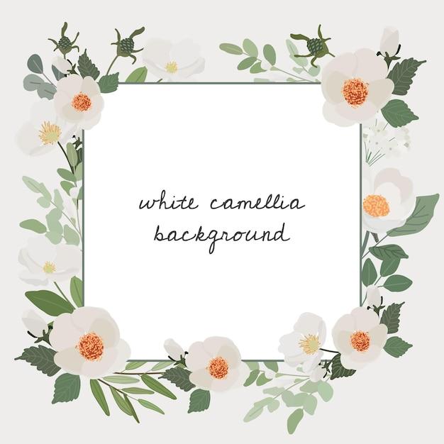 Banner quadrado com moldura branca de camélia flor buquê e grinalda Vetor Premium