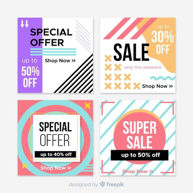 Banner quadrado de venda geométrica para mídias sociais Vetor grátis