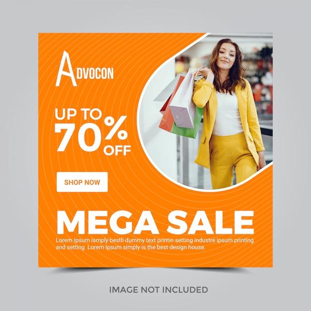 Banner quadrado para o instagram. mega venda 70% de desconto Vetor Premium