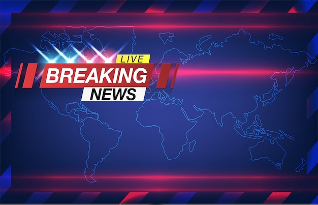 Banner quebrando notícias, notícias importantes, manchete na forma de luzes piscando polícia. vect Vetor Premium