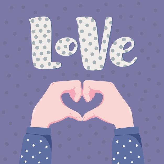 Banner romântico, design de cartão com duas mãos humanas, dobrando-se em forma de coração e palavra amor com padrão de bolinhas Vetor Premium