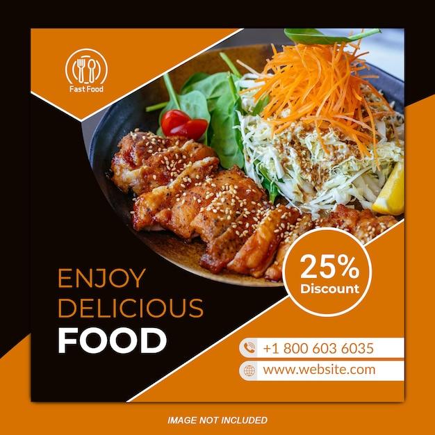 Banner social de alimentos Vetor Premium