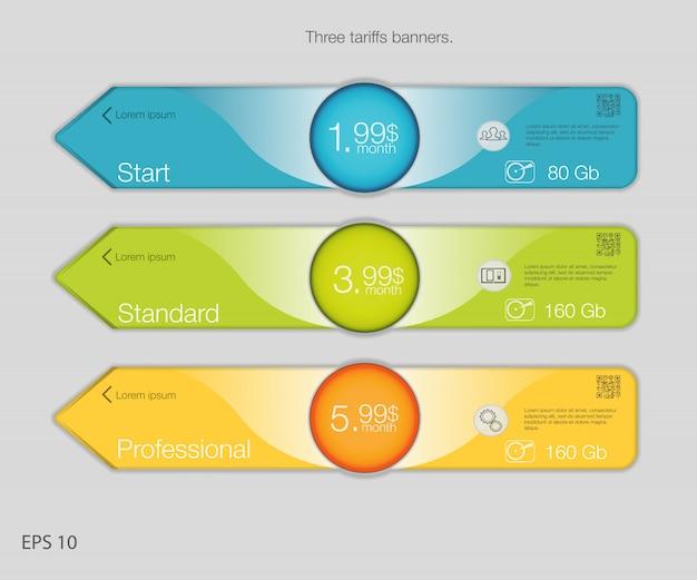 Banner triplo para hospedagem. banners de três tarifas. tabela de preços da web. para aplicativo da web. estilo de seta. Vetor Premium