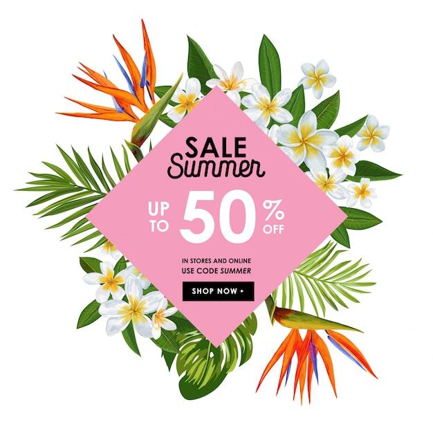 Banner tropical de venda de verão com flores Vetor Premium
