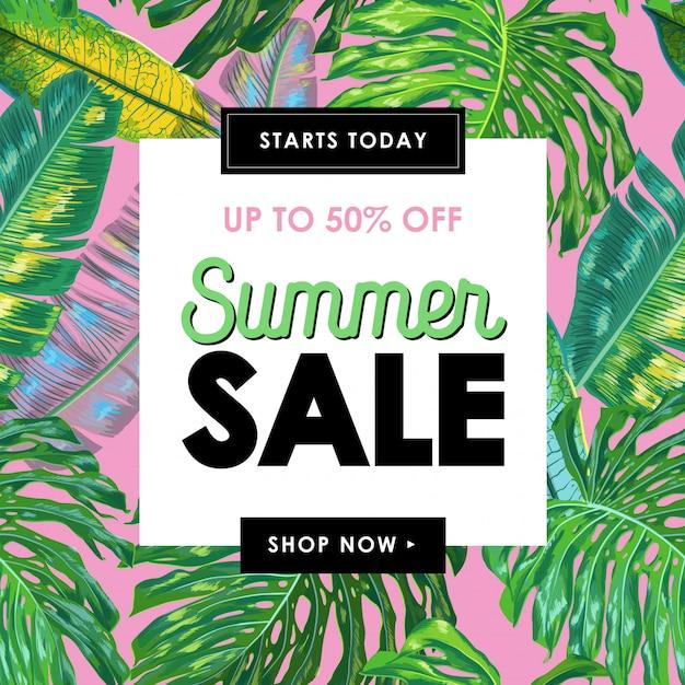 Banner tropical de venda de verão com folhas de palmeira Vetor Premium