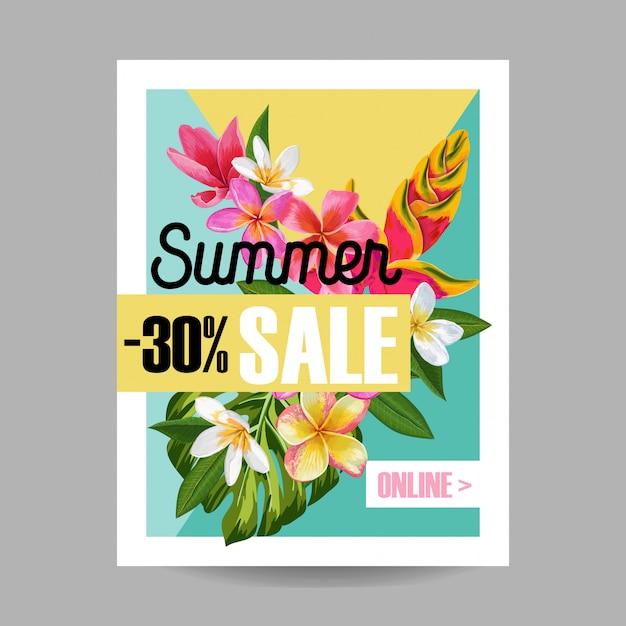 Banner tropical de venda de verão Vetor Premium