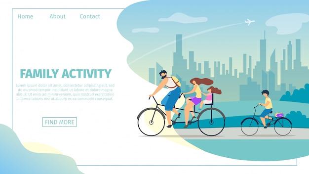 Banner vector ilustração plana da família activit. Vetor Premium