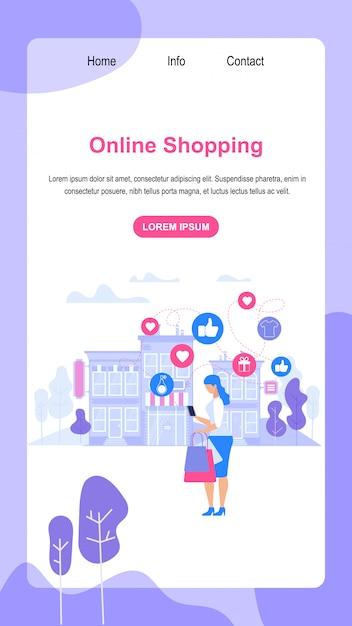 Banner vertical com espaço de cópia. compras online. Vetor Premium