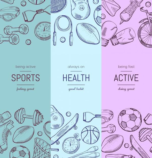Banner vertical de equipamento desportivo de mão desenhada Vetor Premium
