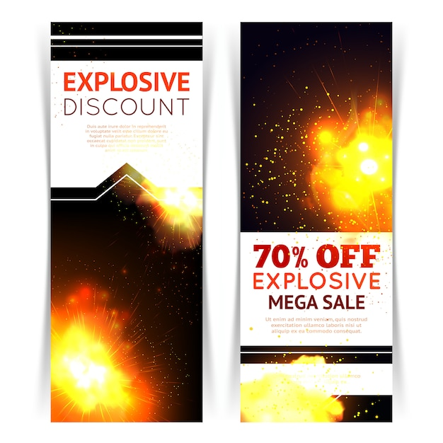 Banner vertical de venda definido com explosão de fogo realista Vetor grátis