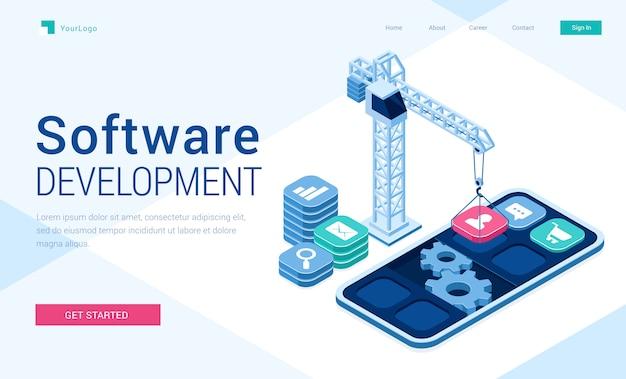 Banner vetorial de desenvolvimento de software Vetor grátis