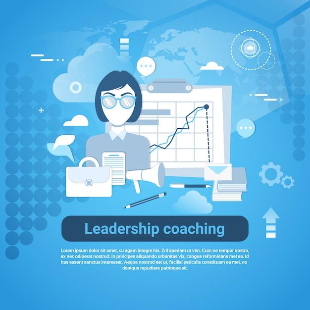 Banner web coaching de liderança com cópia espaço no fundo azul Vetor Premium