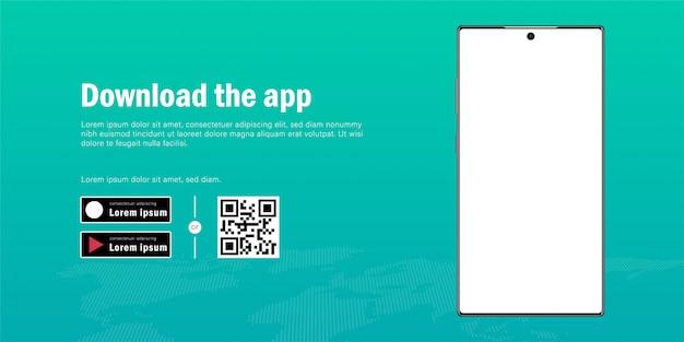 Banner web da maquete de smartphone móvel com anúncio para baixar o aplicativo, código qr e modelo de botões Vetor Premium