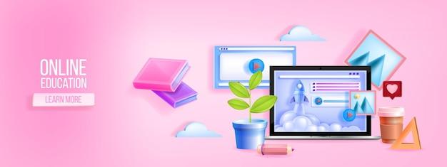 Banner web escolar digital Vetor Premium