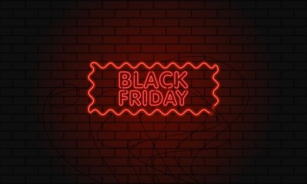 Banner web escuro para venda de sexta-feira negra. outdoor de néon moderno vermelho na parede de tijolo. Vetor Premium