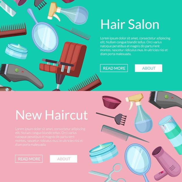 Banner web horizontal definido com elementos de desenhos animados do barbeiro cabeleireiro Vetor Premium
