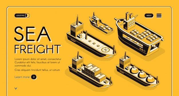 Banner web isométrica de transporte de frete marítimo com petroleiro, transportadora de gnl, carga roro Vetor grátis