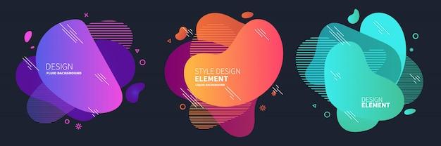 Banners abstratas gradientes com formas fluidas líquidas Vetor Premium