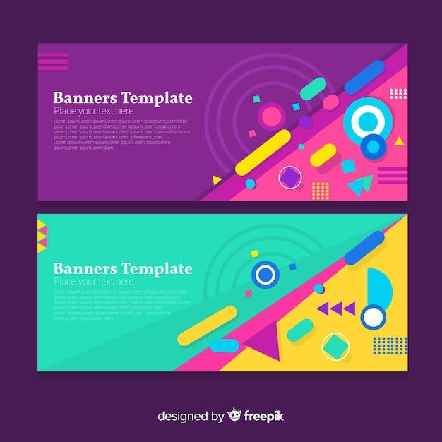 Banners abstratos modernos com design plano Vetor grátis