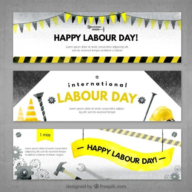 Banners aguarela com ferramentas para o dia de trabalho Vetor grátis