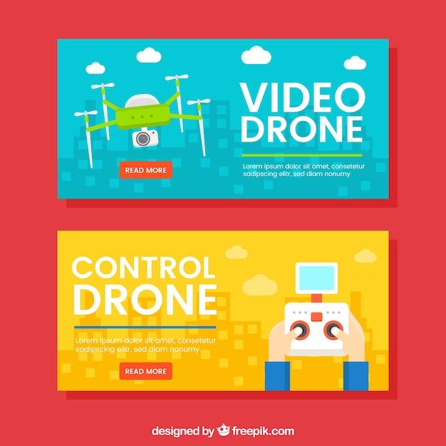 Banners amarelos e azuis com drones Vetor grátis