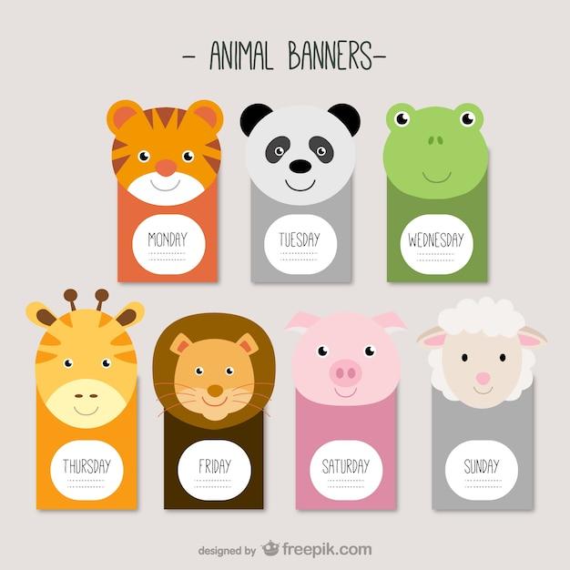 Banners animais Vetor grátis