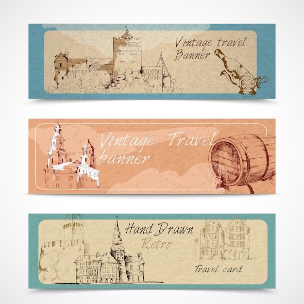 Banners antigos da cidade Vetor grátis