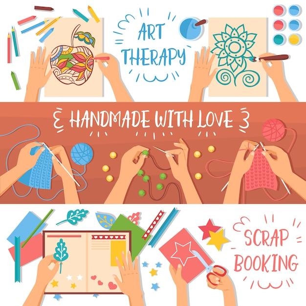 Banners artesanais coloridos conjunto com hobbies criativos para ilustração plana de crianças Vetor grátis