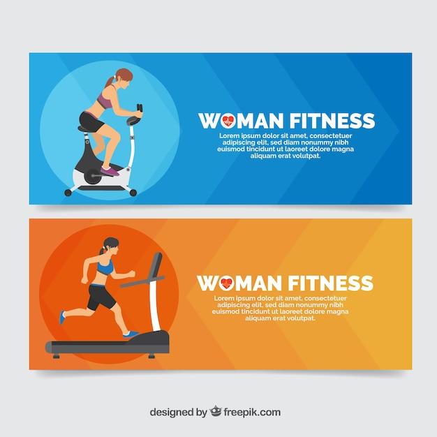 Banners atletas que fazem o exercício físico Vetor grátis
