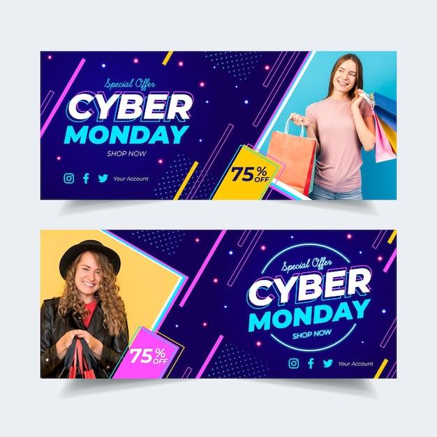 Banners cibernéticos de segunda-feira em design plano com imagem Vetor grátis