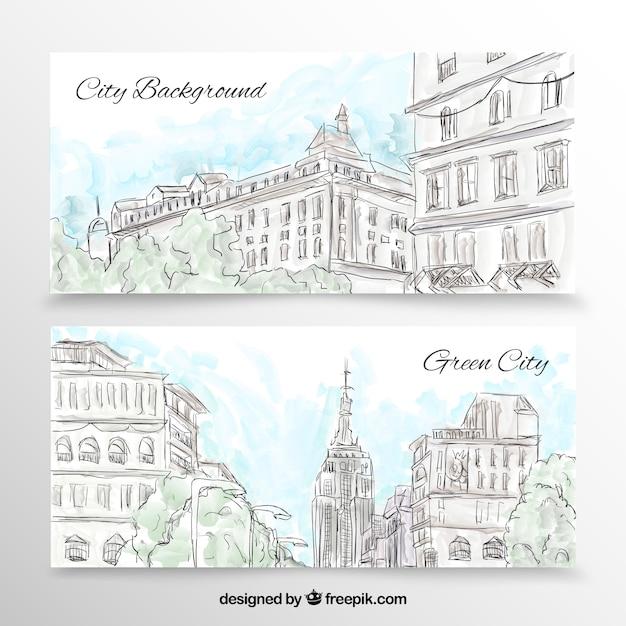 Banners cidade em grande estilo desenhada à mão Vetor grátis