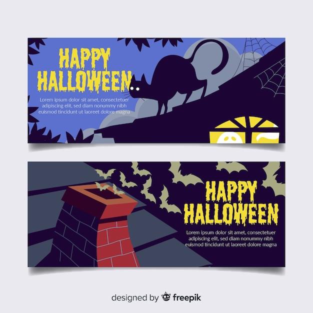 Banners coloridos de halloween com design plano Vetor grátis