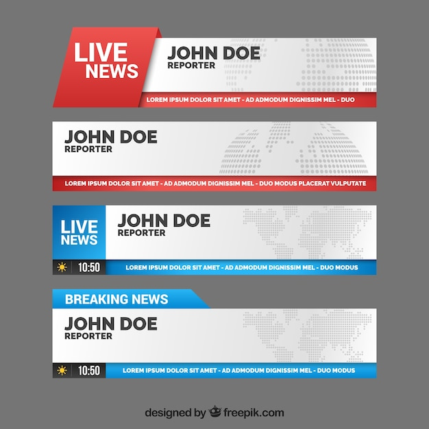 Banners coloridos de notícias ao vivo Vetor grátis